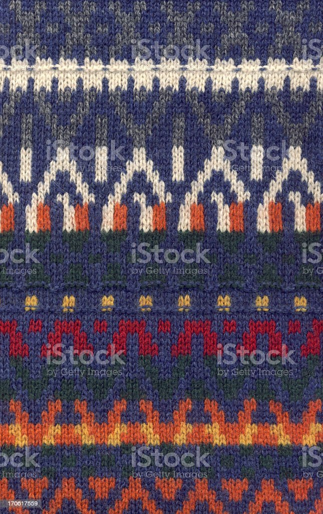 High Resolution Knitted Woolen Fabric With Multicolor Decorative Pattern stock photo