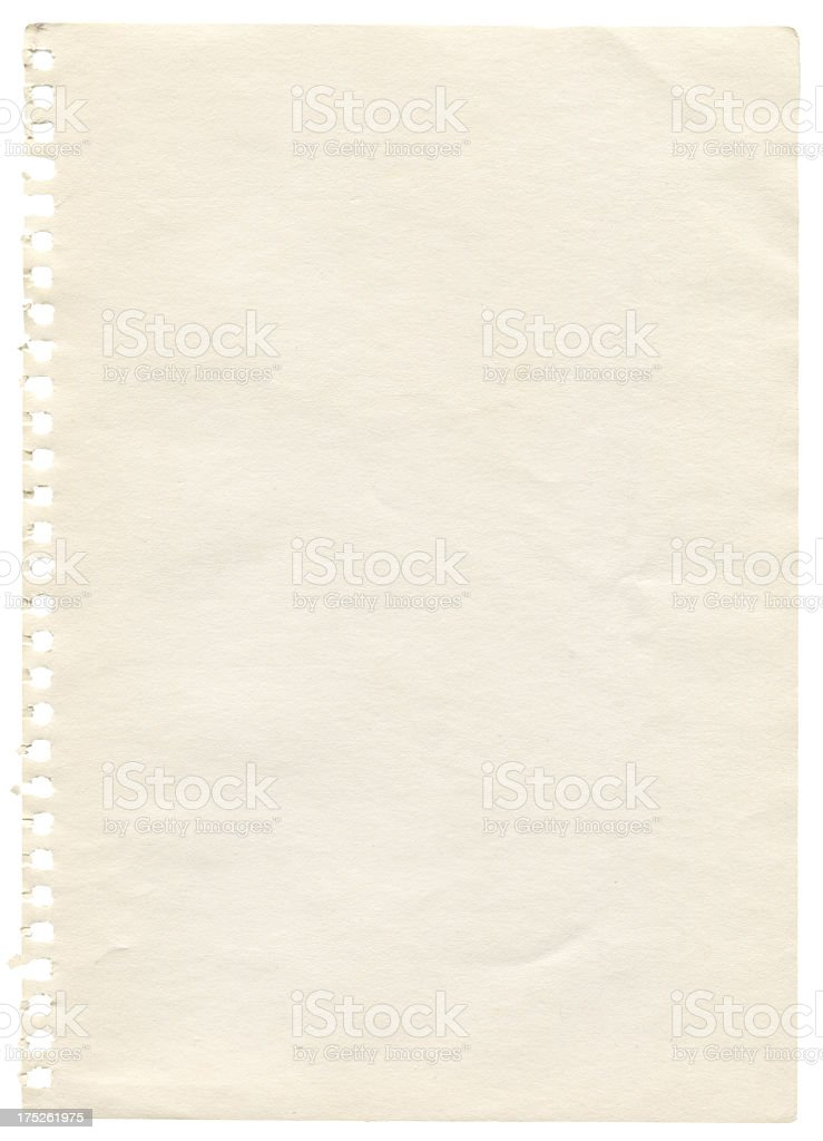 High resolution notepad page isolated on white royalty-free stock photo