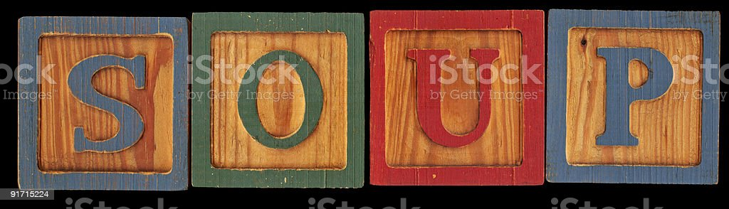 high resolution of the word soup on old wood blocks stock photo