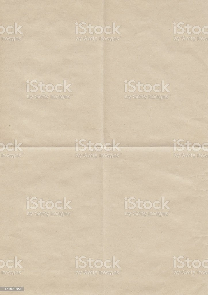 High Resolution Old Beige Paper Creased Grunge Texture stock photo