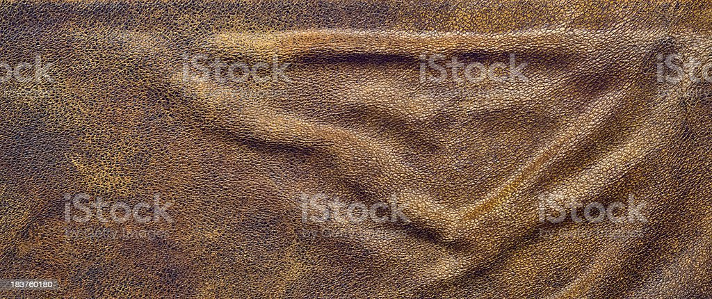 High Resolution Old Brown Sheepskin Bulged Grunge Texture stock photo