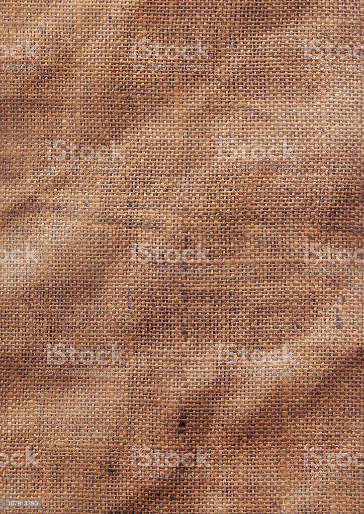 High Resolution Old Coarse Burlap Canvas Crumpled Grunge Texture stock photo