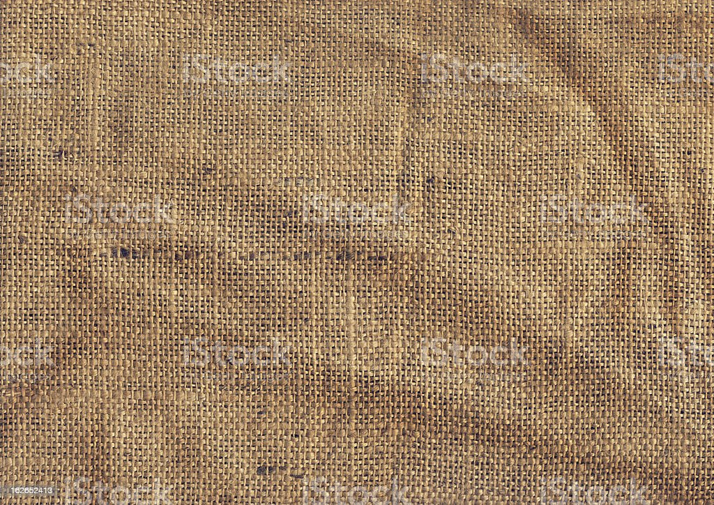 High Resolution Old Coarse Burlap Canvas Crumpled Grunge Texture royalty-free stock photo