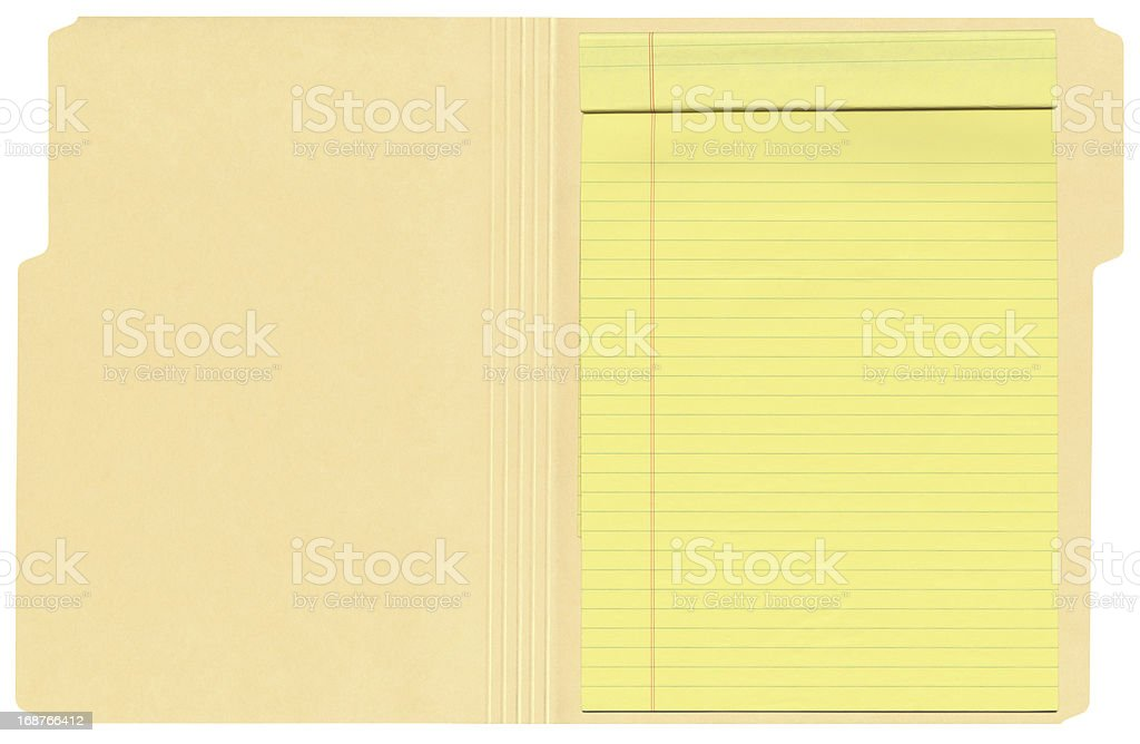 High Resolution Open File Folder With Legal Pad stock photo