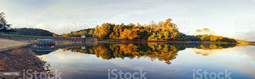 High resolution panorama lake with reflection of forest stock photo