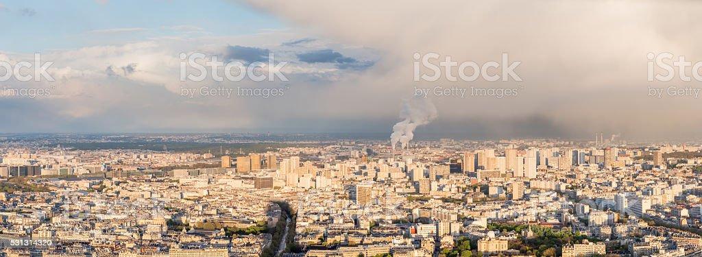 High resolution panorama of Paris skyline stock photo