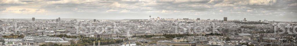 High resolution panorama of Paris skyline. stock photo