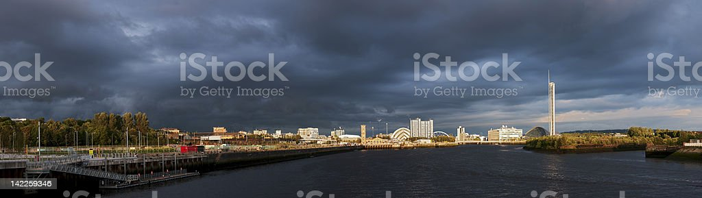 High resolution panorama of River Clyde in Glasgow stock photo