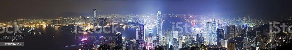 High resolution panoramic view of Hong Kong at night royalty-free stock photo