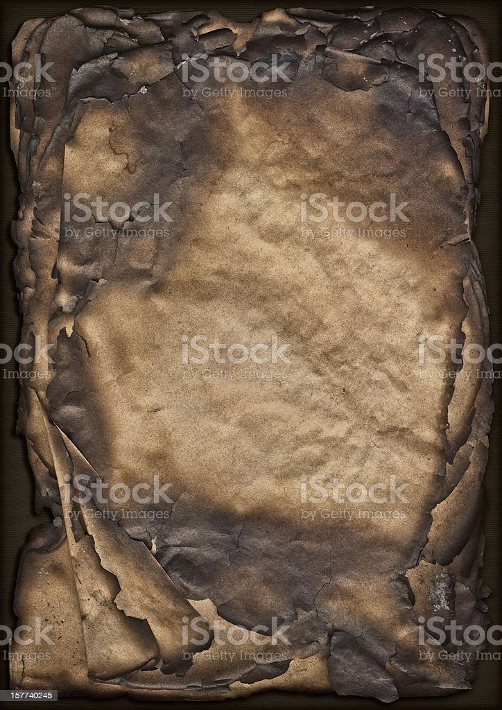 High Resolution Pile of Burnt Paper Sheets Vignette Grunge Texture stock photo