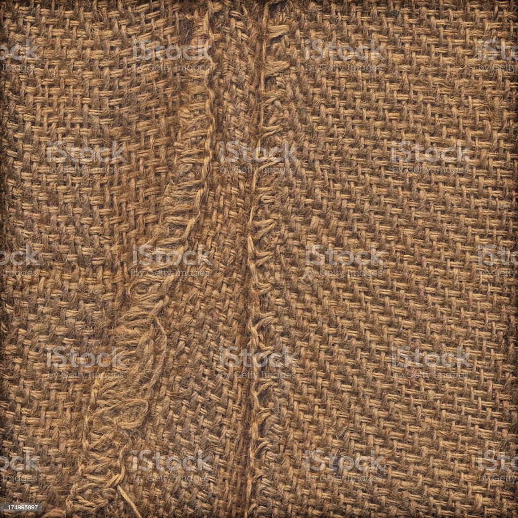 High Resolution Sackcloth with Hemmed Edges Vignette Grunge Texture stock photo