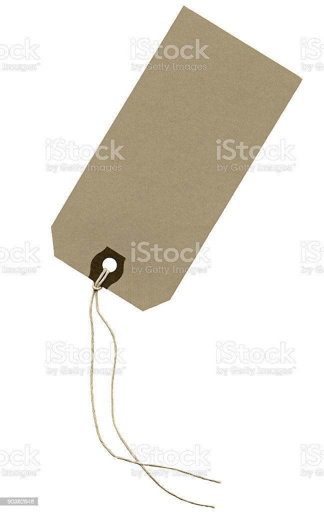 High resolution scan of a brown paper tag with strings stock photo