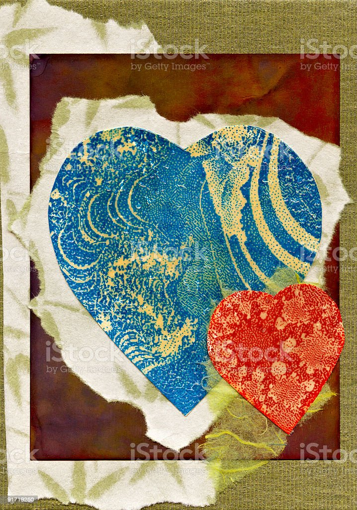 high resolution scan of handmade valentine greeting card royalty-free stock photo