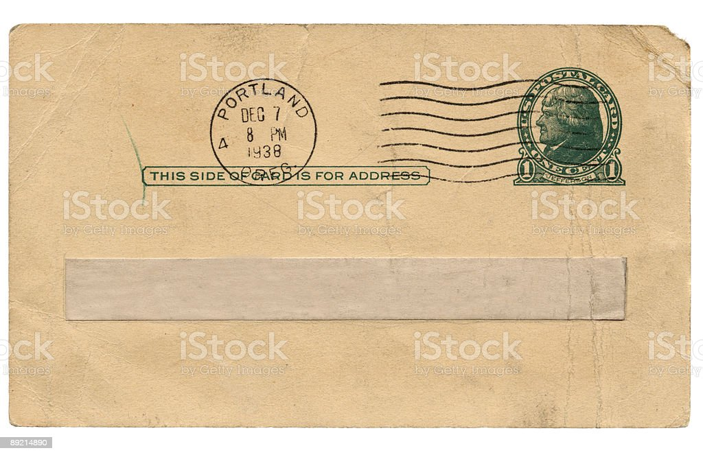 high resolution scan of old postcard stamped 1938 from Portland royalty-free stock photo