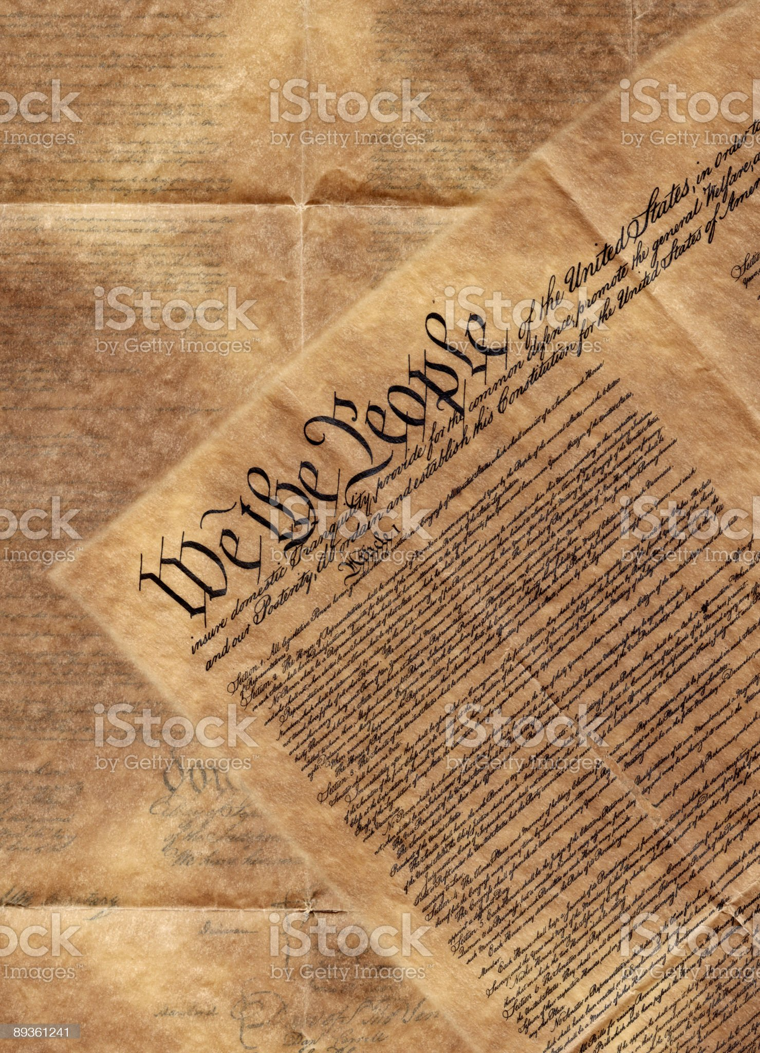 High resolution scan of the constitution of the United States royalty-free stock photo