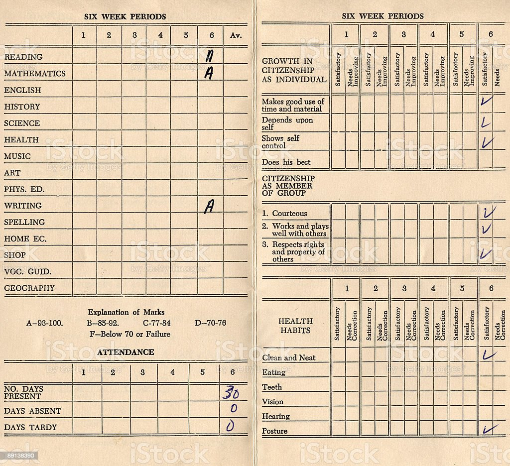 High resolution school report card from 1958 with grades stock photo
