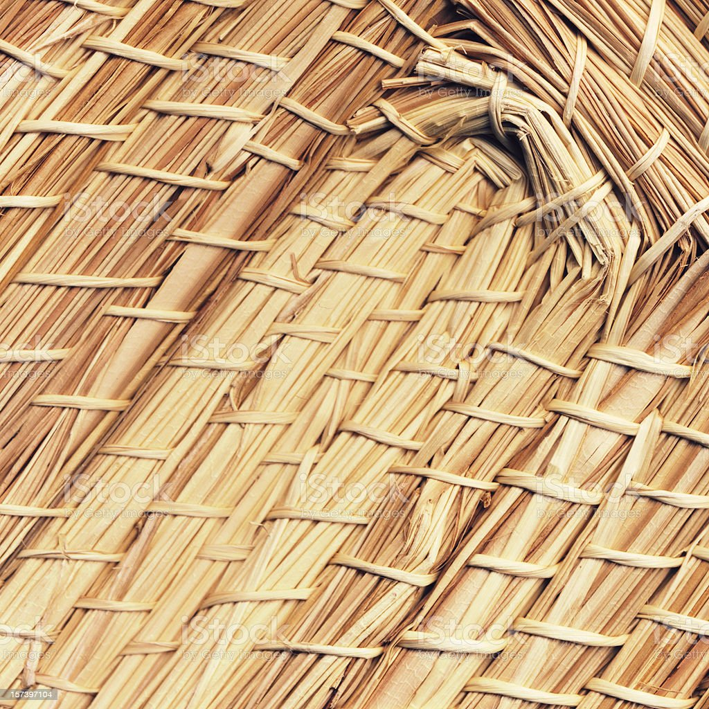 High Resolution Straw Mat Texture Sample stock photo