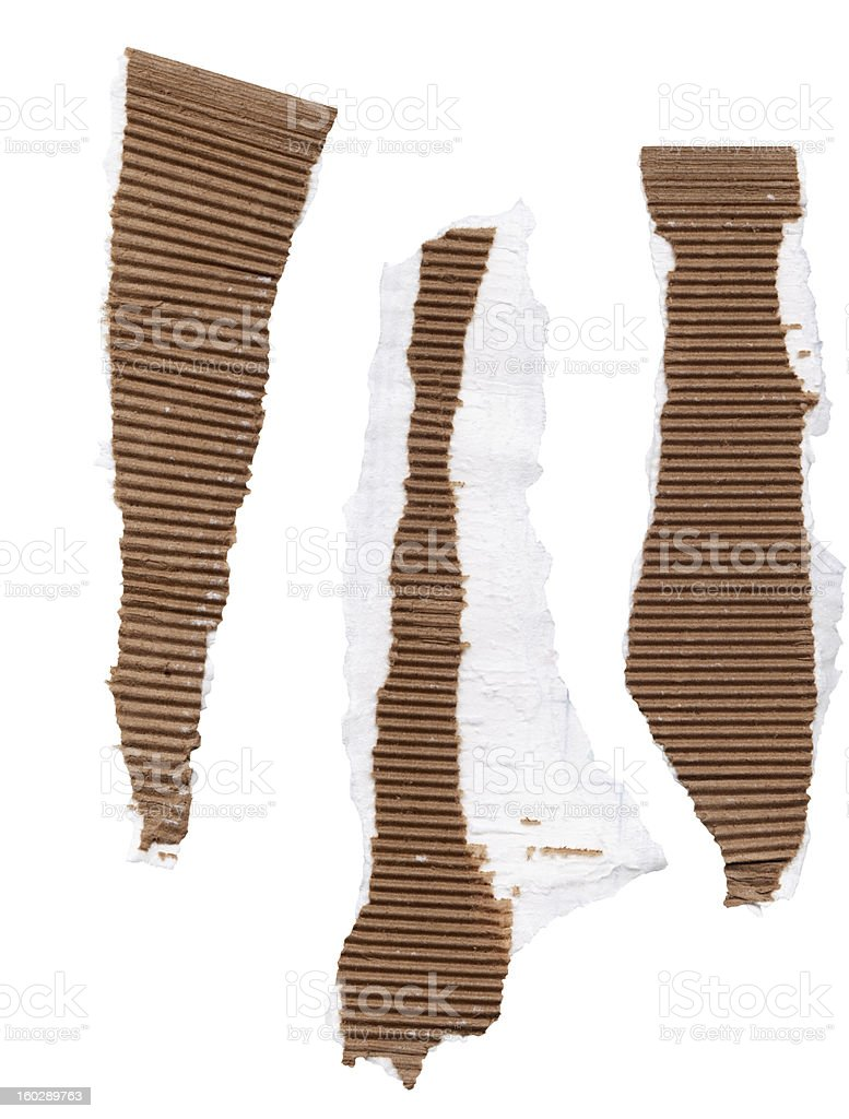 high resolution strips of ripped corrugated cardboard on isolated white royalty-free stock photo