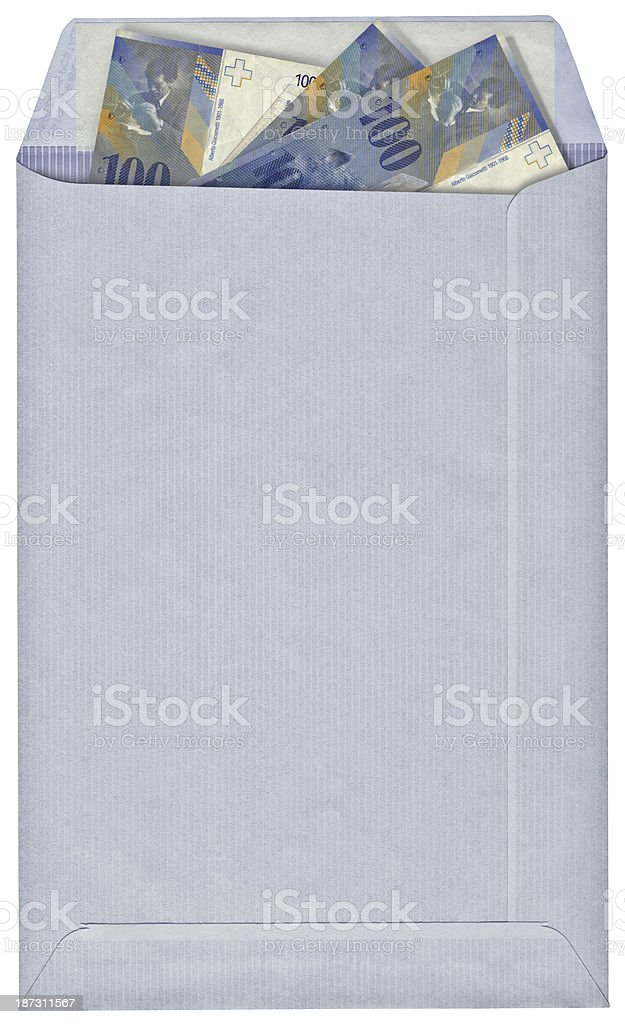 High Resolution Swiss Francs Inserted in Blue Striped Envelope royalty-free stock photo