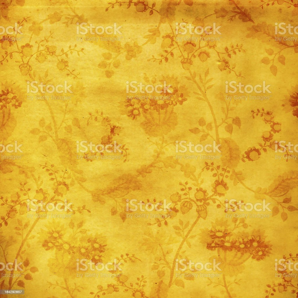 High Resolution Vintage Yellow Wallpaper royalty-free stock photo