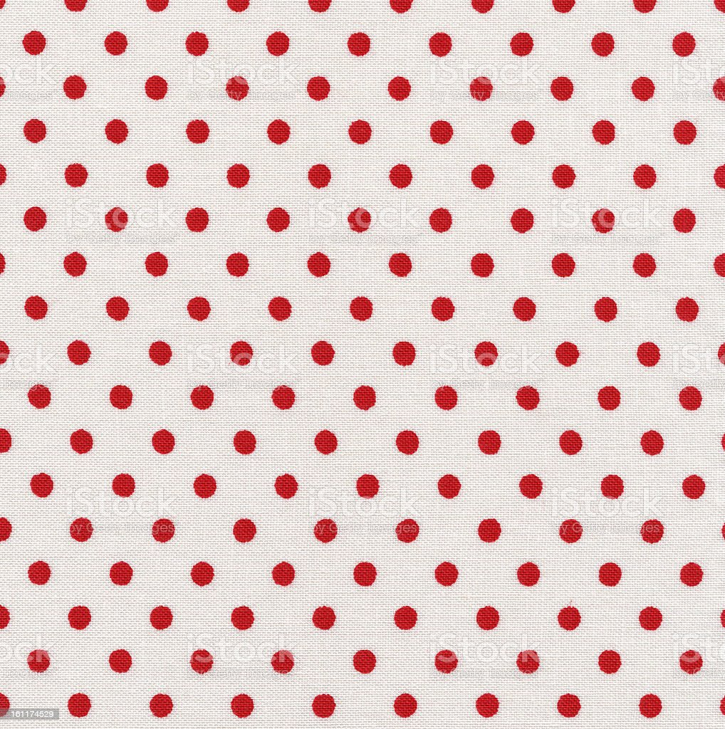 High Resolution White Fabric Red Polka Dots Texture and Backgrounds royalty-free stock photo