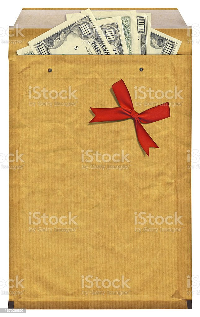 High Resolution Yellow Jiffy Bag with Inserted 100 Dollar Bills royalty-free stock photo