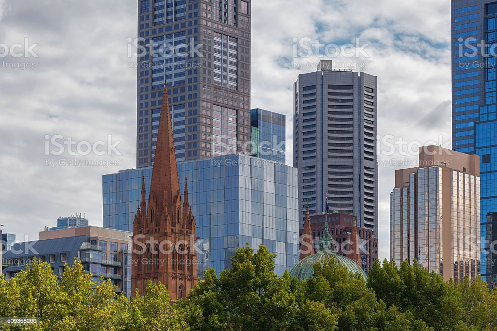 high rise buildings ans st Paul's Cathedral closeup stock photo