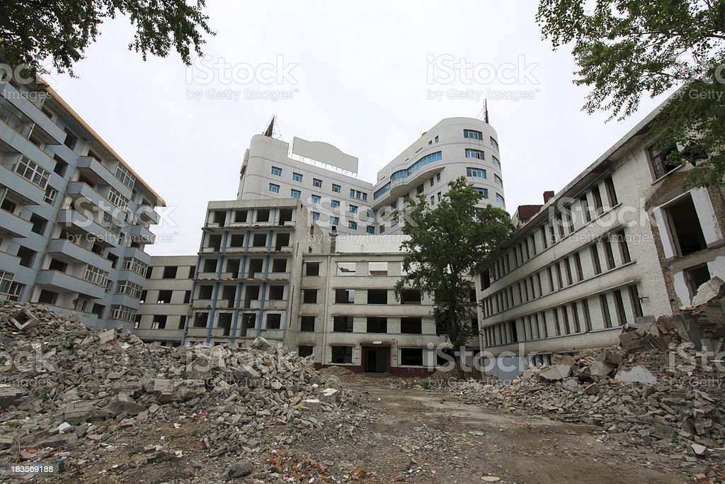 high rise buildings demolition site royalty-free stock photo