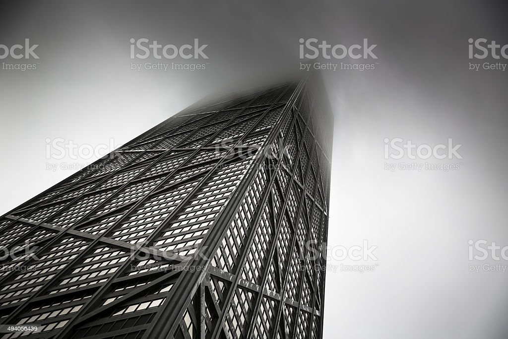 High Rise buildings in a storm stock photo