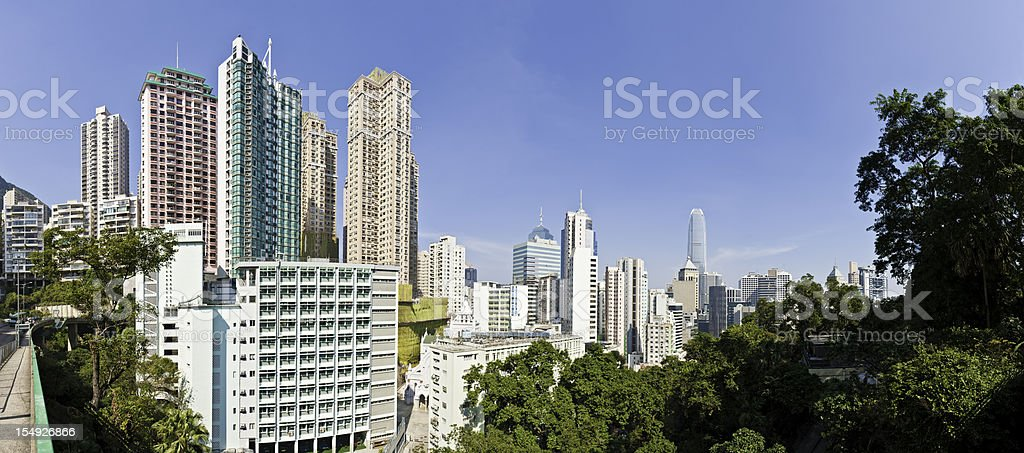 High rise cityscape skyscrapers apartment blocks panorama Hong Kong China stock photo
