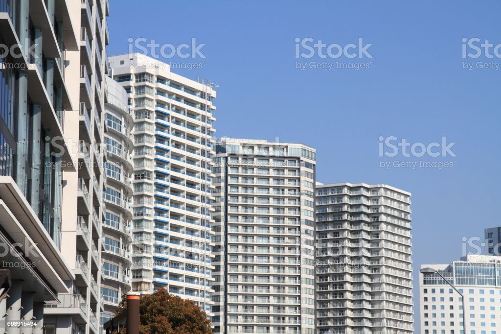 High rise condominium in Yokohama Minatomirai 21, Japan stock photo