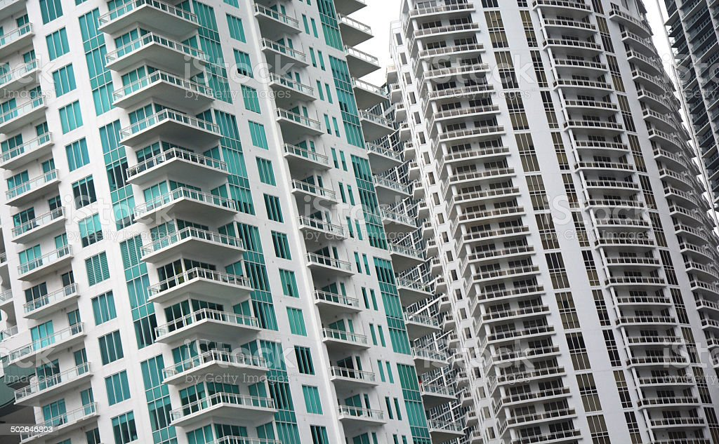 High Rise Condos Macro Photo In Miami royalty-free stock photo