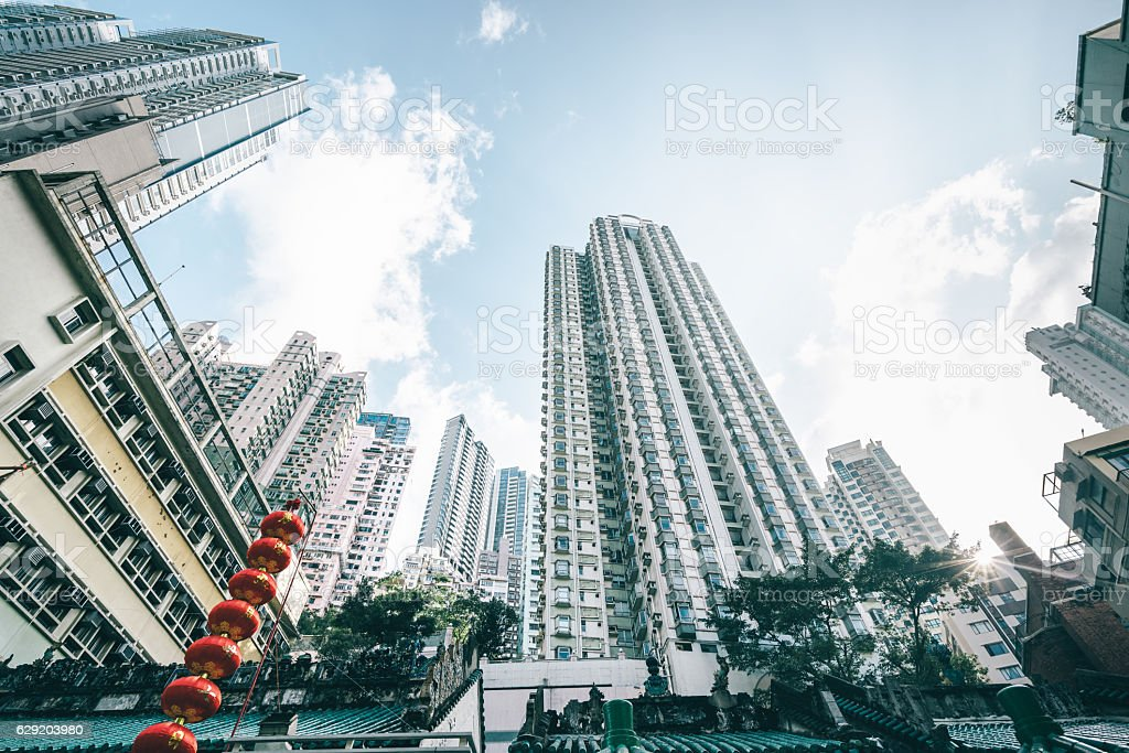 High rise flats in Central HongKong stock photo