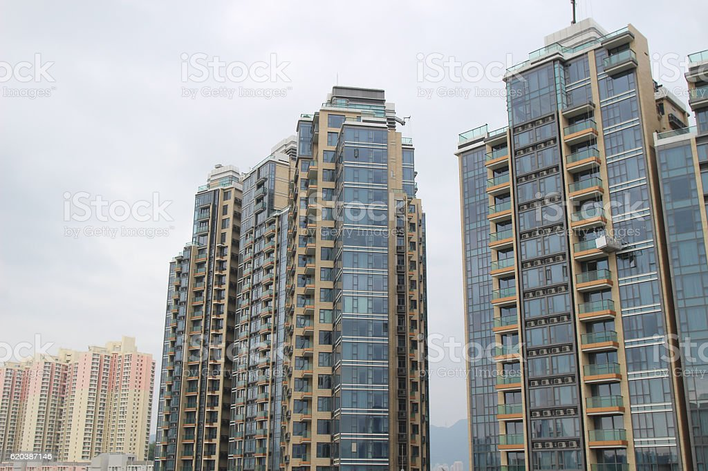 High rise residential building in hk stock photo