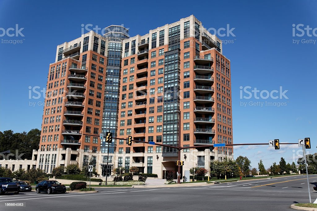 High Rise with Empty Intersection stock photo