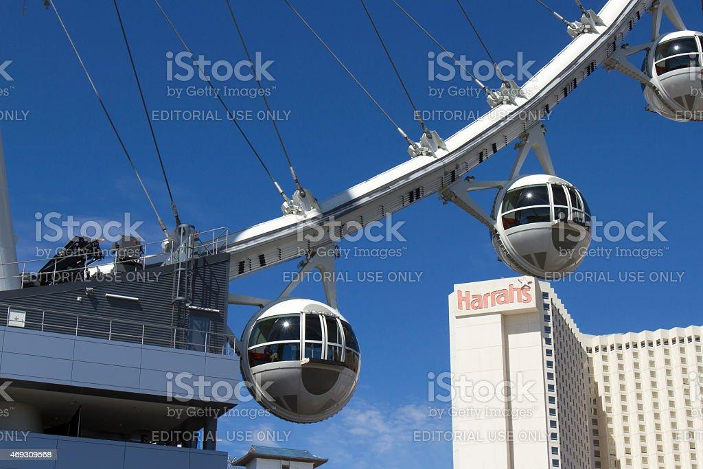High Roller Ferris Wheel in front of Harrah's Casino stock photo