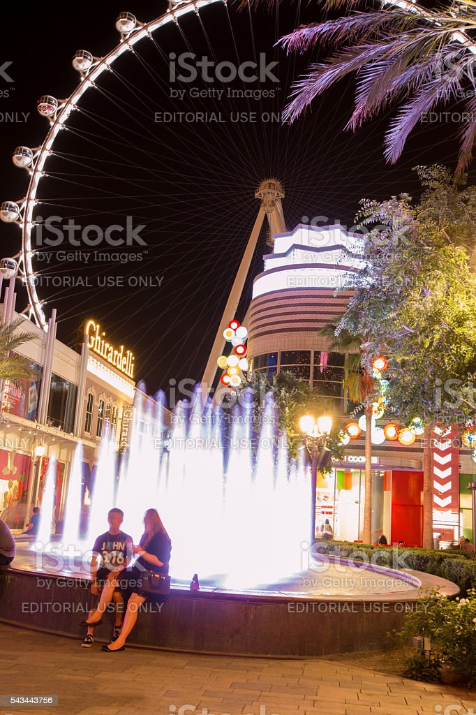 High Roller ferris wheel in Las Vegas at night stock photo