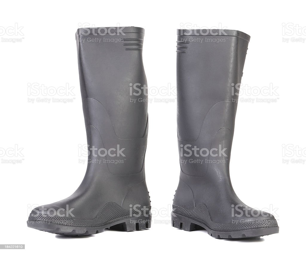 High rubber boots black color. royalty-free stock photo