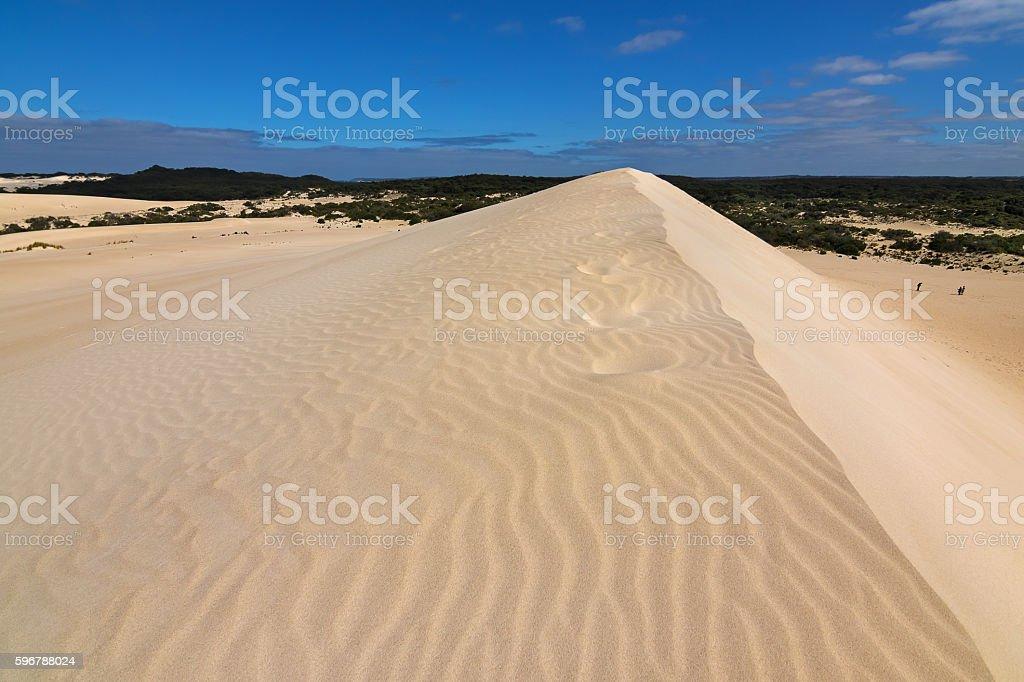 High sand hill ridge with blue sky, Little Sahara, Australia stock photo