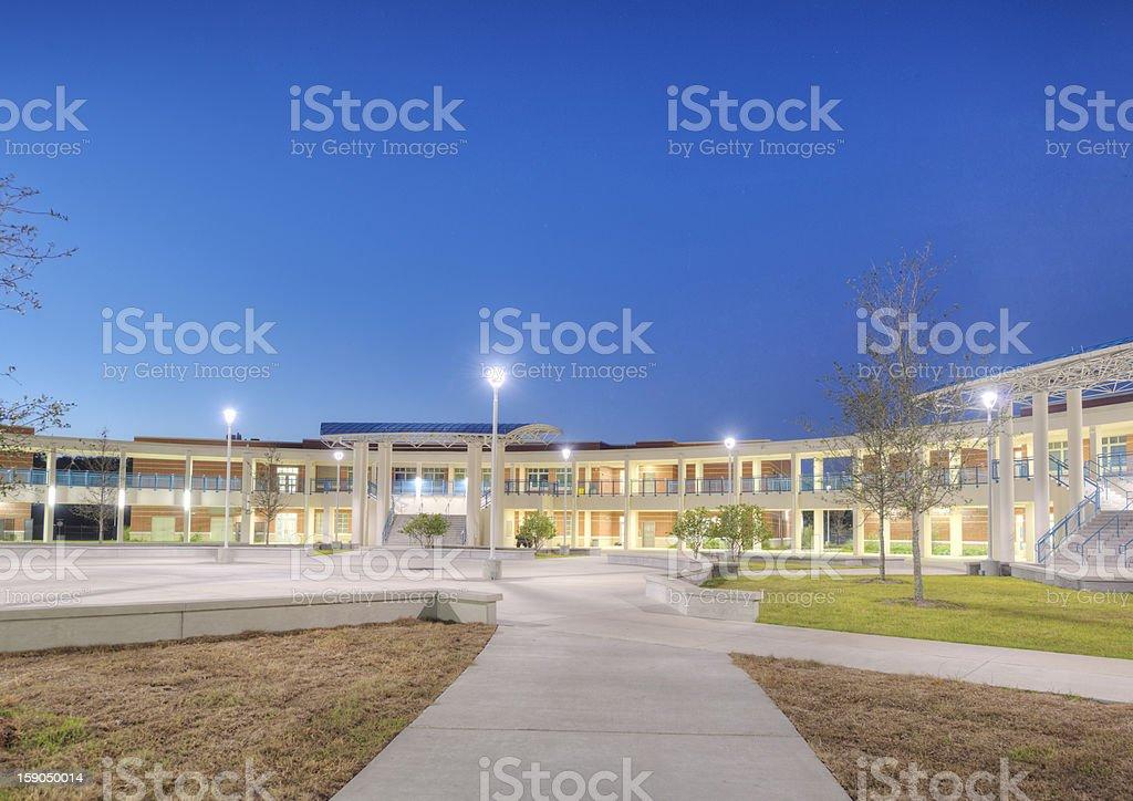 High School at Night stock photo