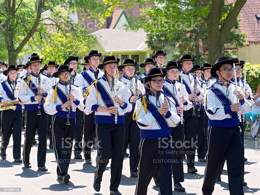 High School Band at Parade stock photo