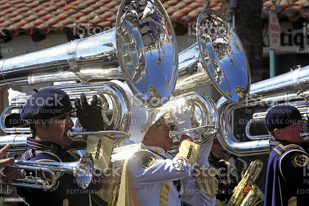 High School Band In Black History Parade royalty-free stock photo