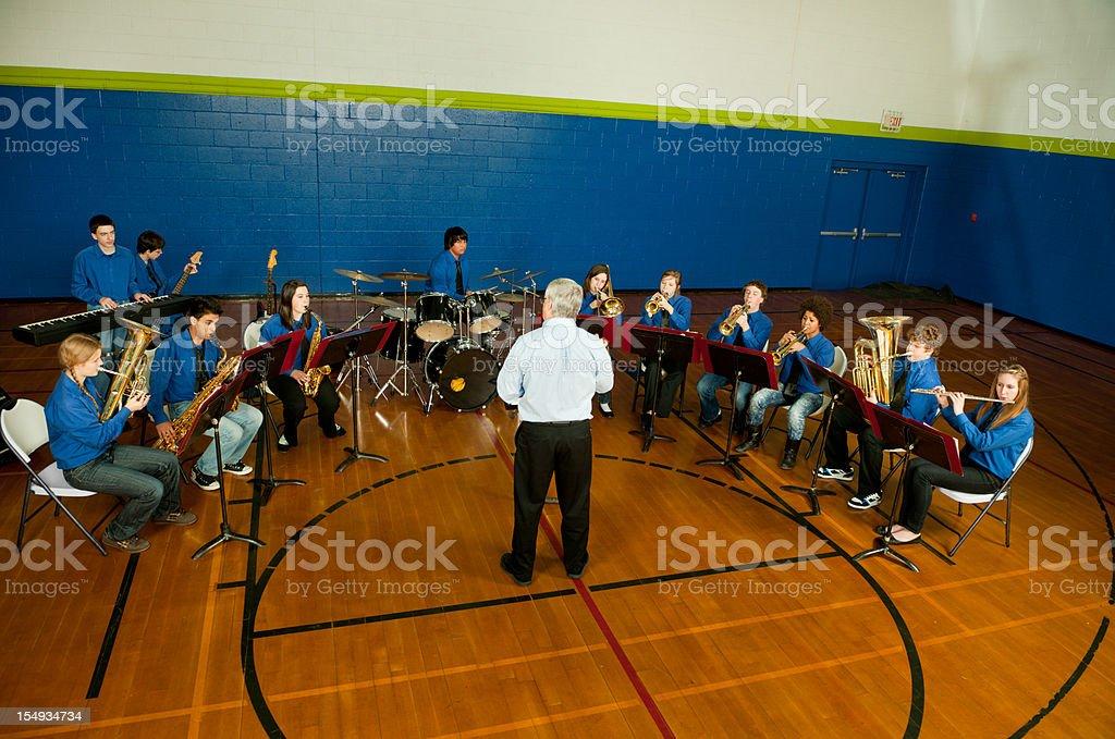 High school band practice stock photo