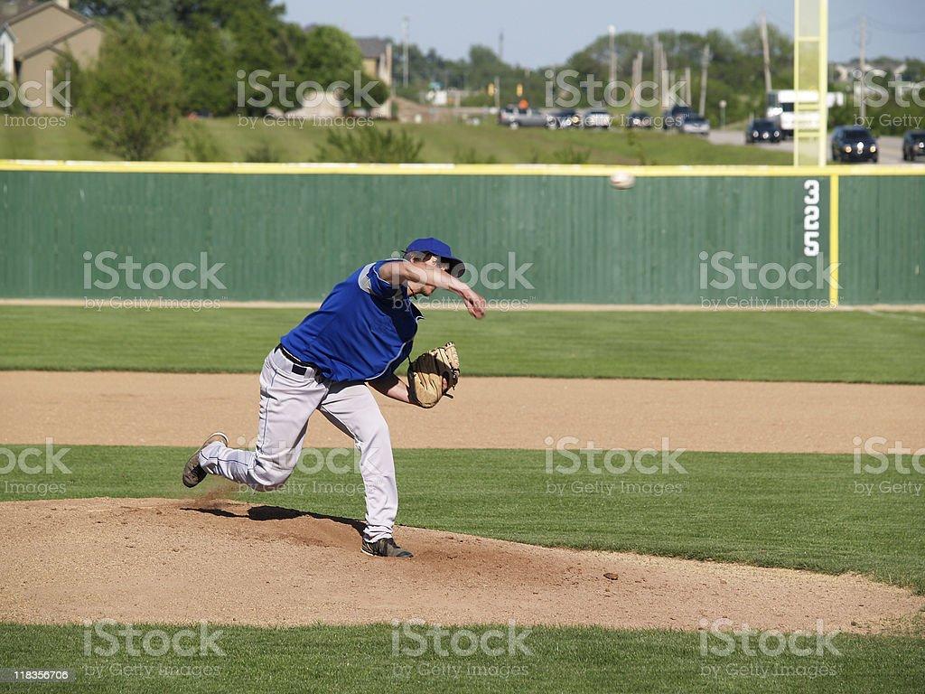 high school baseball pitcher stock photo