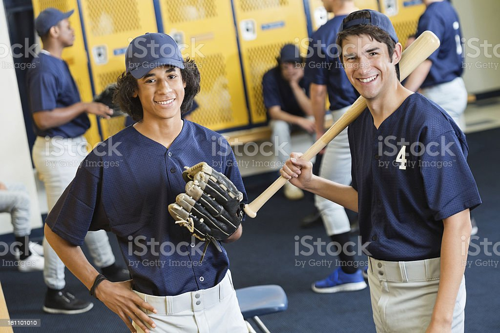 High school baseball team players in locker room after game royalty-free stock photo
