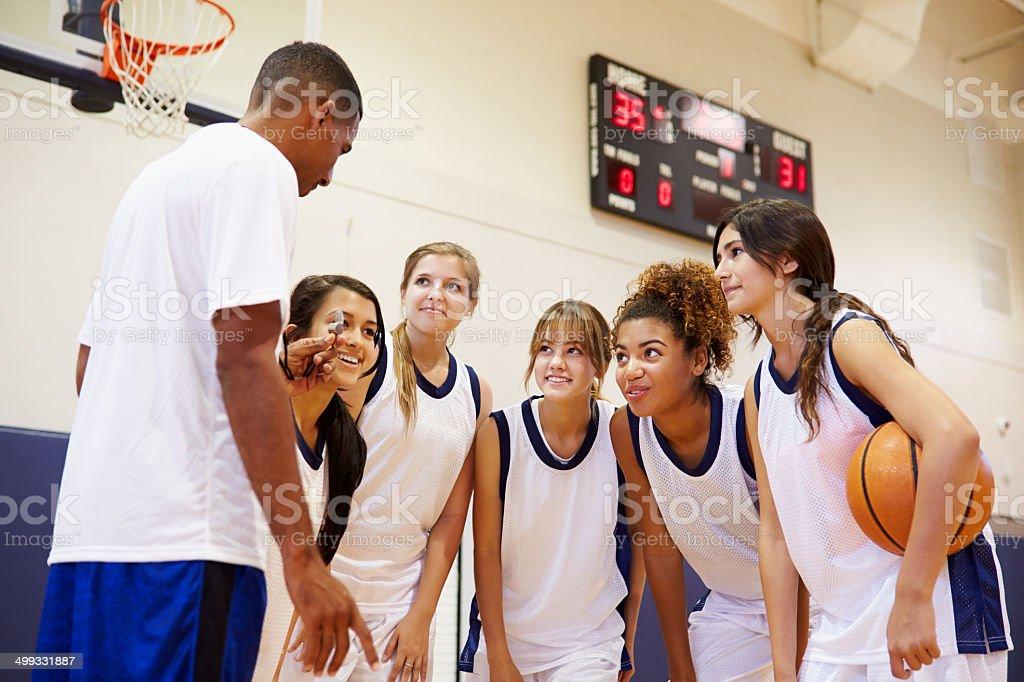 High School Basketball Team Having Team Talk With Coach stock photo