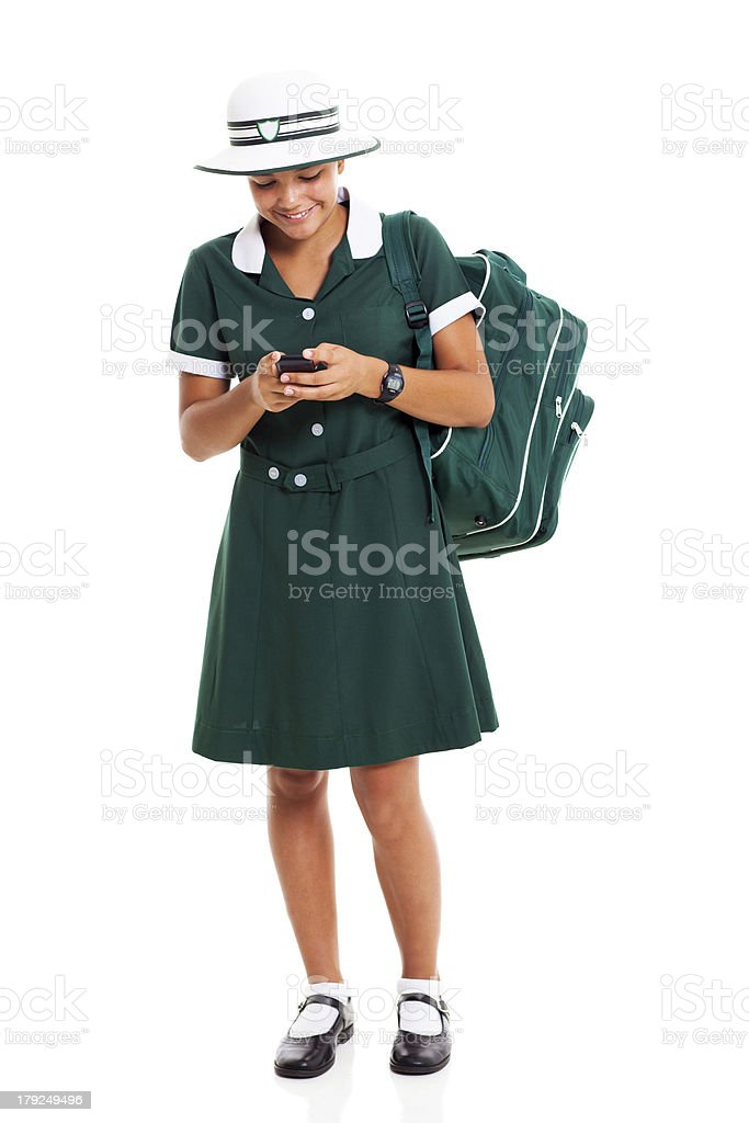 high school girl chatting on cell phone royalty-free stock photo