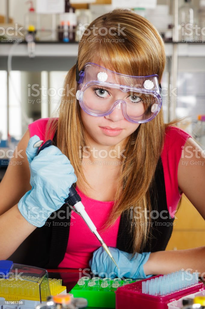 High School Girl in a Laboratory royalty-free stock photo