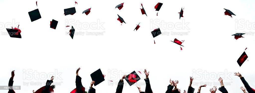 high school graduation hats high stock photo