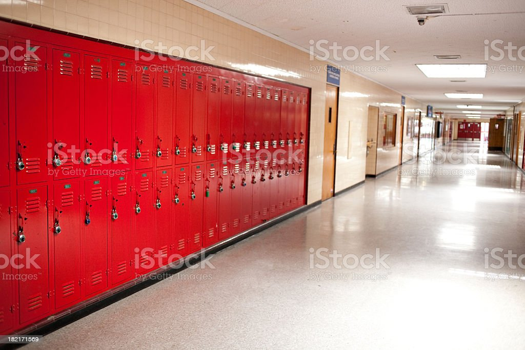 high school hallway and lockers stock photo